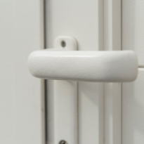 Detail alu kruk RAL9001 structuur - LM Hekwerk