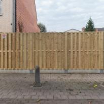 Houten tuinschermen verticaalrecht, Hoogte 180cm incl. betonplaat - LM Hekwerk bvba